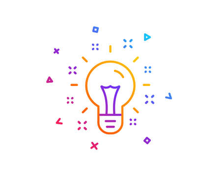 Idea line icon. Light bulb or Lamp sign. Creativity, Solution or Thinking symbol. Gradient line button. Idea icon design. Colorful geometric shapes. Vector