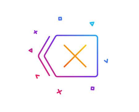 Delete line icon. Remove sign. Cancel or Close symbol. Gradient line button. Remove icon design. Colorful geometric shapes. Vector