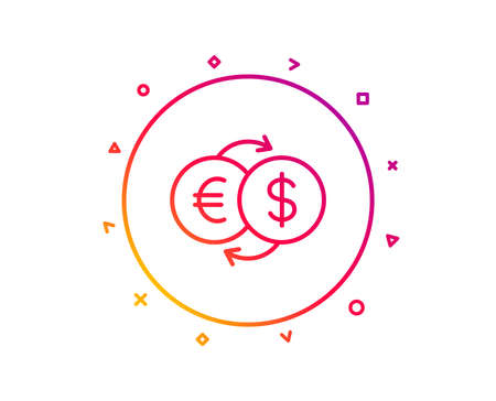 Money exchange line icon. Banking currency sign. Euro and Dollar Cash transfer symbol. Gradient pattern line button. Money exchange icon design. Geometric shapes. Vector