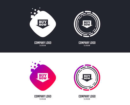 Logotype concept. Buy now sign icon. Online buying arrow button. Logo design. Colorful buttons with icons. Vector Zdjęcie Seryjne