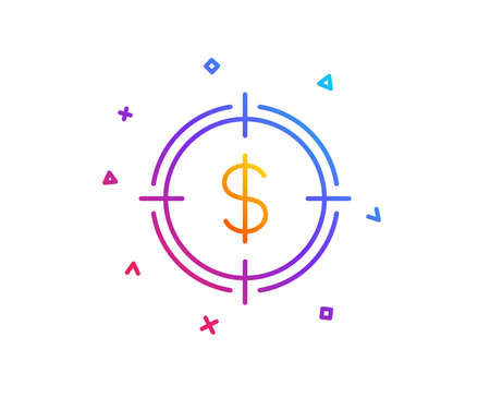 Target with Dollar line icon. Aim symbol. Cash or Money sign. Gradient line button. Dollar Target icon design. Colorful geometric shapes. Vector