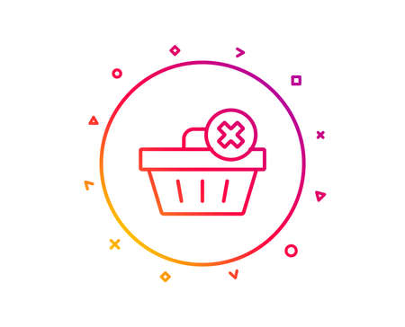 Remove Shopping cart line icon. Online buying sign. Supermarket basket symbol. Gradient pattern line button. Delete order icon design. Geometric shapes. Vector Reklamní fotografie