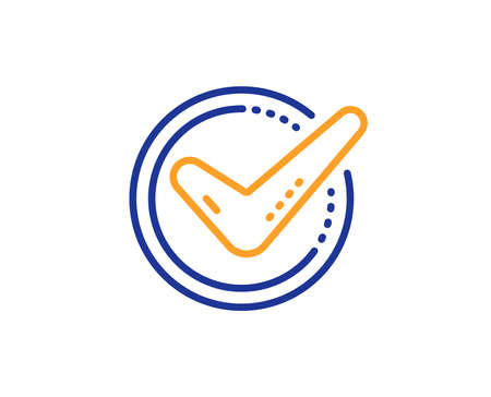 Check mark line icon. Accepted or Approve sign. Tick symbol. Colorful outline concept. Blue and orange thin line color Confirmed icon. Vector