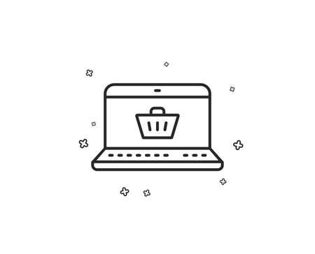 Online Shopping cart line icon. Laptop sign. Supermarket basket symbol. Geometric shapes. Random cross elements. Linear Online shopping icon design. Vector