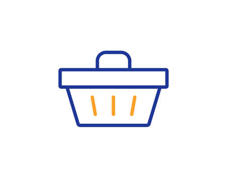Shopping cart line icon. Online buying sign. Supermarket basket symbol. Colorful outline concept. Blue and orange thin line color icon. Shopping basket Vector Stock Photo