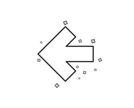 Left arrow line icon. Direction Arrowhead symbol. Navigation pointer sign. Geometric shapes. Random cross elements. Linear Left arrow icon design. Vector