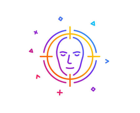 Face detect target line icon. Head recognition sign. Identification symbol. Gradient line button. Face detect icon design. Colorful geometric shapes. Vector Фото со стока