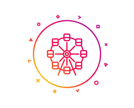 Ferris wheel line icon. Amusement park sign. Carousels symbol. Gradient pattern line button. Ferris wheel icon design. Geometric shapes. Vector Stock Photo