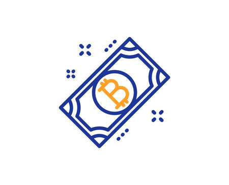 Bitcoin line icon. Cryptocurrency cash sign. Crypto money symbol. Colorful outline concept. Blue and orange thin line color Bitcoin icon. Vector Zdjęcie Seryjne