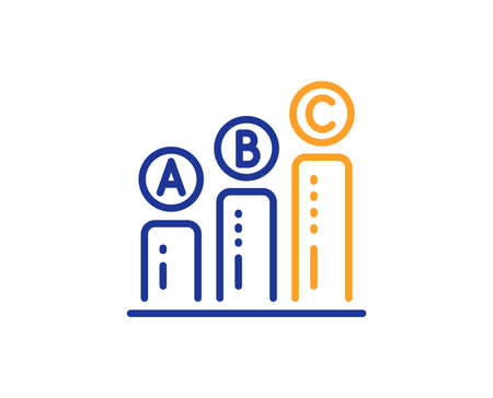 Graph line icon. Column chart sign. Ab test diagram symbol. Colorful outline concept. Blue and orange thin line color Graph chart icon. Vector Stock Photo - 113234931