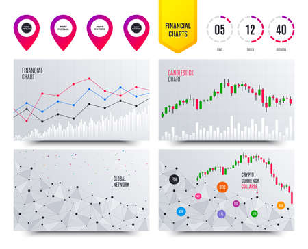 Financial planning charts. Most popular star icon. Most watched symbols. Clients or users choice signs. Cryptocurrency stock market graphs icons. Trendy design. Vector