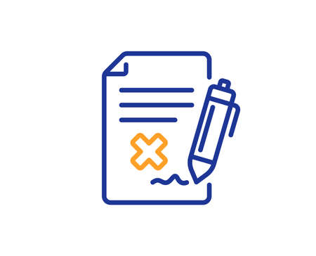 Reject file line icon. Decline document sign. Delete file. Colorful outline concept. Blue and orange thin line color Reject file icon. Vector Banco de Imagens - 113234942
