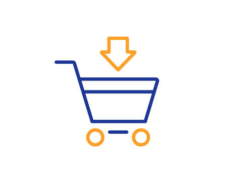 Add to Shopping cart line icon. Online buying sign. Supermarket basket symbol. Colorful outline concept. Blue and orange thin line color icon. Online market Vector