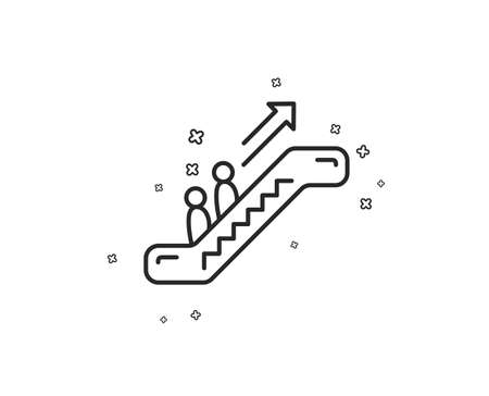 Escalator line icon. Elevator sign. Shopping stairway symbol. Geometric shapes. Random cross elements. Linear Escalator icon design. Vector Banque d'images - 113234984