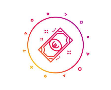 Euro money line icon. Payment method sign. Eur symbol. Gradient pattern line button. Euro money icon design. Geometric shapes. Vector Stock Photo