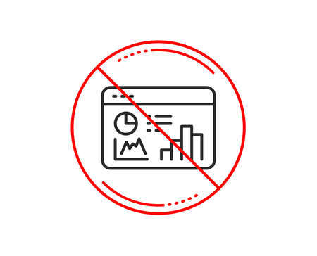 No or stop sign. Seo statistics line icon. Search engine optimization sign. Analytics chart symbol. Caution prohibited ban stop symbol. No  icon design.  Vector