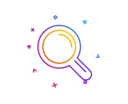 Research line icon. Magnifying glass symbol. Magnifier sign. Gradient line button. Research icon design. Colorful geometric shapes. Vector