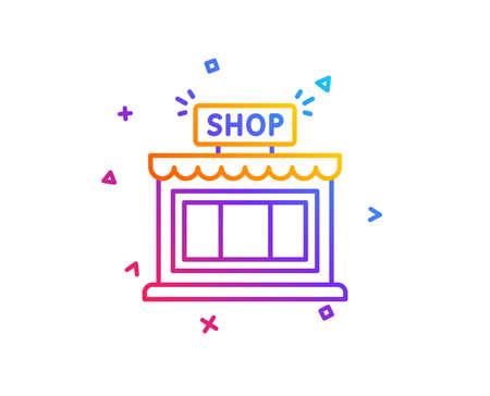 Shop line icon. Store symbol. Shopping building sign. Gradient line button. Shop icon design. Colorful geometric shapes. Vector
