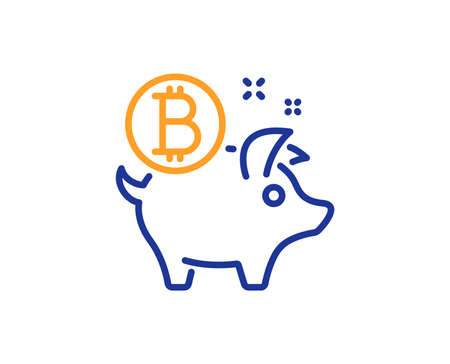 Bitcoin line icon. Cryptocurrency coin sign. Piggy bank money symbol. Colorful outline concept. Blue and orange thin line color Bitcoin coin icon. Vector