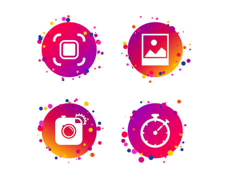 Hipster retro photo camera icon. Autofocus zone symbol. Stopwatch timer sign. Landscape photo frame. Gradient circle buttons with icons. Random dots design. Vector