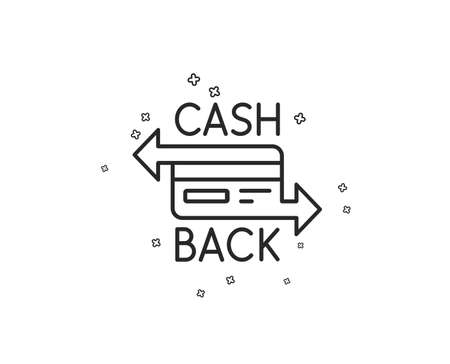 Credit card line icon. Banking Payment card sign. Cashback service symbol. Geometric shapes. Random cross elements. Linear Cashback card icon design. Vector Archivio Fotografico - 113235054