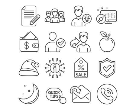 Set of Identity confirmed, Santa hat and Person idea icons. Receive mail, Wallet and Sale coupon signs. Quick tips, Article and Teamwork symbols. Person validated, Christmas, Lamp energy. Vector