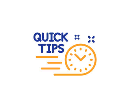 Quick tips line icon. Helpful tricks sign. Tutorials symbol. Colorful outline concept. Blue and orange thin line color icon. Quick tips Vector