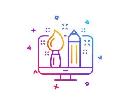 Creative design line icon. Graphic designer sign. Brush and pencil symbol. Gradient line button. Creative design icon design. Colorful geometric shapes. Vector