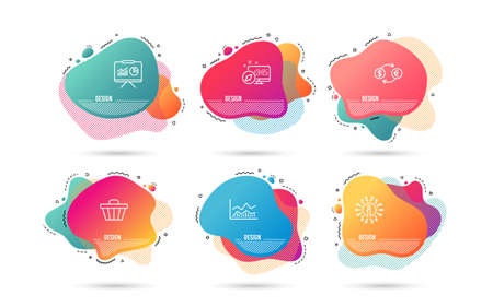 Dynamic liquid shapes. Set of Trade infochart, Currency exchange and Presentation icons. Shop cart sign. Business analysis, Banking finance, Board with charts. Web buying.  Gradient banners. Vector