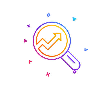 Chart line icon. Report graph or Sales growth sign in Magnifying glass. Analysis and Statistics data symbol. Gradient line button. Analytics icon design. Colorful geometric shapes. Vector