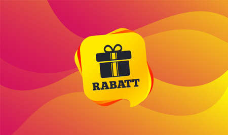 Rabatt - Discounts in German sign icon. Gift box with ribbons symbol. Wave background. Abstract shopping banner. Template for design. Vector Standard-Bild - 113235090
