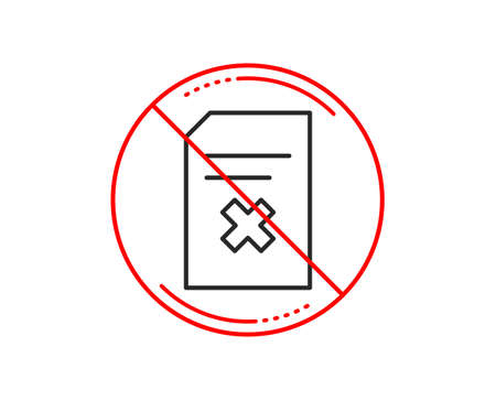 No or stop sign. Remove Document line icon. Delete Information File sign. Paper page concept symbol. Caution prohibited ban stop symbol. No  icon design.  Vector