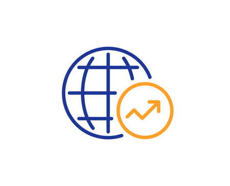 World Statistics line icon. Report chart or Sales growth sign. Data Analysis graph symbol. Colorful outline concept. Blue and orange thin line color icon. World Statistics Vector