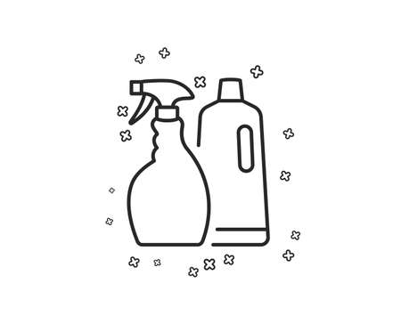 Cleaning spray and Shampoo line icon. Washing liquid or Cleanser symbol. Housekeeping equipment sign. Geometric shapes. Random cross elements. Linear Shampoo and Spray icon design. Vector