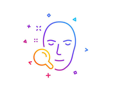 Face search line icon. Head recognition sign. Gradient line button. Face search icon design. Colorful geometric shapes. Vector