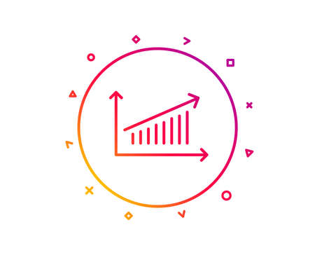 Chart line icon. Report graph or Sales growth sign. Analysis and Statistics data symbol. Gradient pattern line button. Chart icon design. Geometric shapes. Vector