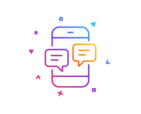 Phone Message line icon. Mobile chat sign. Conversation or SMS symbol. Gradient line button. Phone Messages icon design. Colorful geometric shapes. Vector