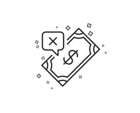Rejected Payment line icon. Dollar money sign. Finance symbol. Geometric shapes. Random cross elements. Linear Rejected Payment icon design. Vector