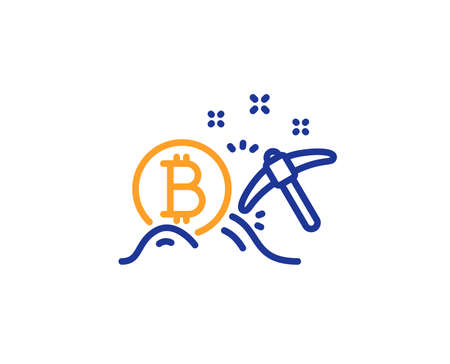 Bitcoin mining line icon. Cryptocurrency coin sign. Crypto money pickaxe symbol. Colorful outline concept. Blue and orange thin line color Bitcoin mining icon. Vector