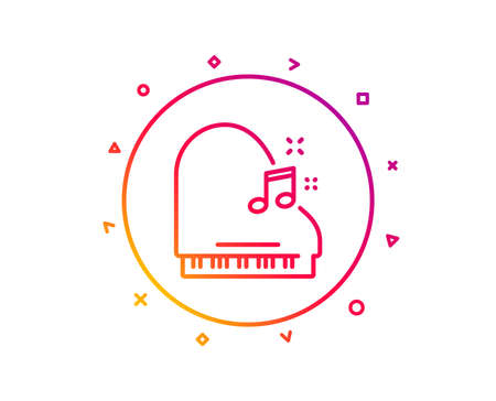 Piano line icon. Musical instrument sign. Music note symbol. Gradient pattern line button. Piano icon design. Geometric shapes. Vector