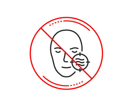 No or stop sign. Problem face skin line icon. Need facial care sign. Target symbol. Caution prohibited ban stop symbol. No  icon design.  Vector
