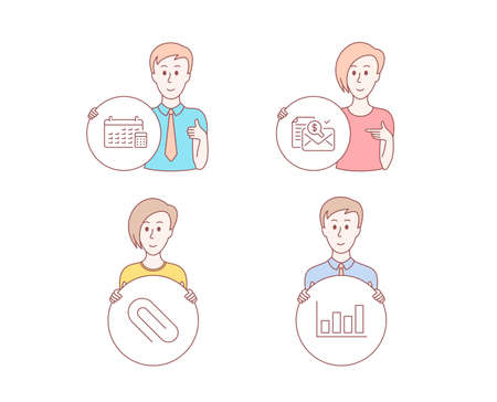 People set of Accounting report, Calendar and Paper clip icons. Report diagram sign. Check finance, Calculator device, Attach paperclip. Financial market. Vector Stok Fotoğraf
