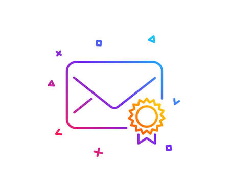 Verified Mail line icon. Confirmed Message correspondence sign. E-mail symbol. Gradient line button. Verified Mail icon design. Colorful geometric shapes. Vector