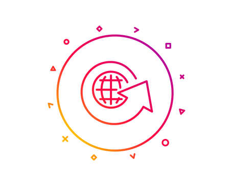 Global business line icon. Share arrow sign. World globe symbol. Gradient pattern line button. World globe icon design. Geometric shapes. Vector