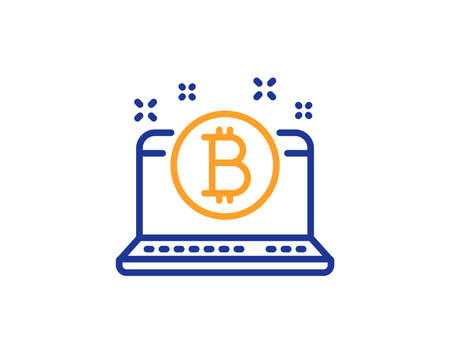 Bitcoin line icon. Cryptocurrency coin sign. Crypto laptop symbol. Colorful outline concept. Blue and orange thin line color Bitcoin icon. Vector Zdjęcie Seryjne