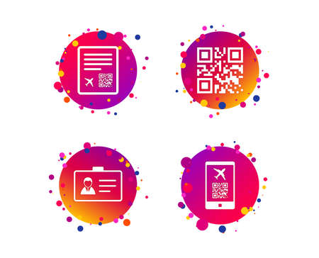 QR scan code in smartphone icon. Boarding pass flight sign. Identity ID card badge symbol. Gradient circle buttons with icons. Random dots design. Vector
