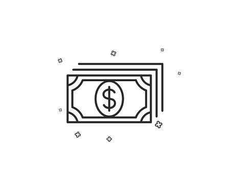 Payment line icon. Dollar exchange sign. Finance symbol. Geometric shapes. Random cross elements. Linear Payment icon design. Vector 写真素材