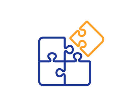Puzzle line icon. Engineering strategy sign. Colorful outline concept. Blue and orange thin line color Puzzle icon. Vector
