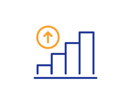 Graph line icon. Column chart sign. Growth diagram symbol. Colorful outline concept. Blue and orange thin line color Graph chart icon. Vector