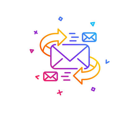 Mail line icon. Communication by letters symbol. E-mail chat sign. Gradient line button. E-Mail icon design. Colorful geometric shapes. Vector